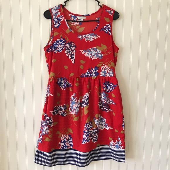 Anthropologie Dresses & Skirts - Anthropology Porridge Red Floral Sleeveless Dress